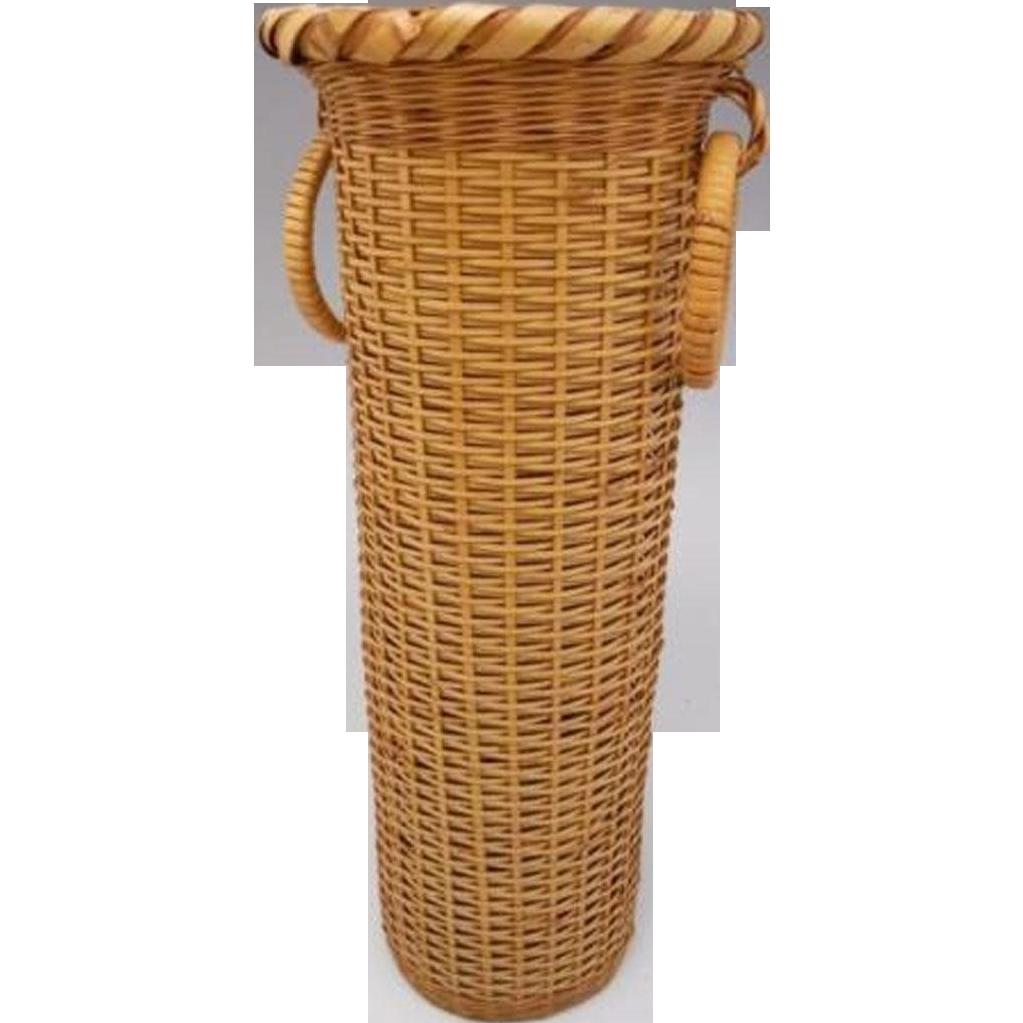 Japanese vintage bamboo cylindrical kabin or vase for