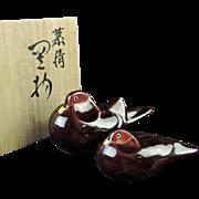 Japanese Vintage Kutani Porcelain Pair of Mandarin Ducks by Asakura Isokichi 朝倉