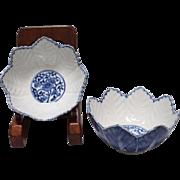 Japanese Antique Arita- Imari Hakkakubachi-Kobachi Leaf Shaped Pair of Bowls in Relief