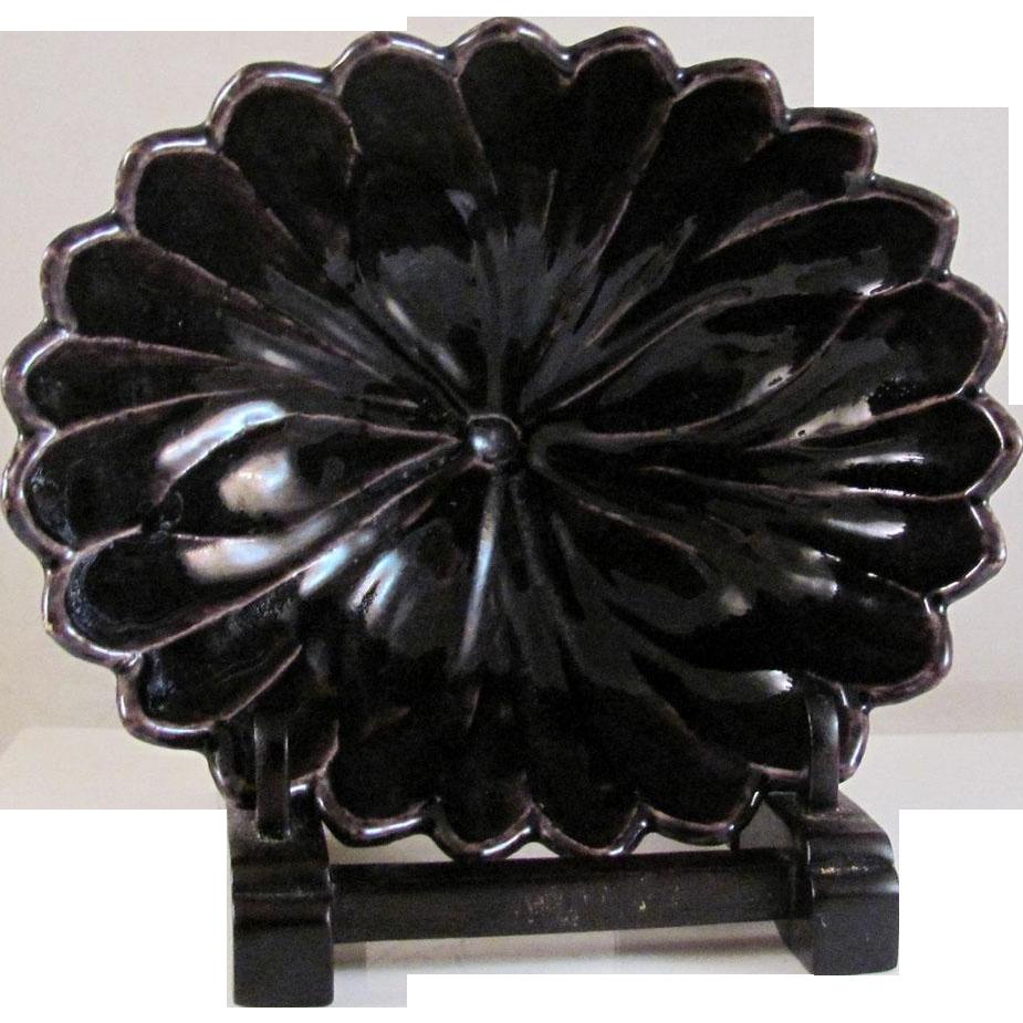 Japanese Vintage Kyoto Ware Porcelain Raku Bowl of Chrysanthemum Eiraku 永楽 Made