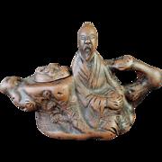 Chinese Unglazed Pottery  Sencha Size Teapot Man of a Tree