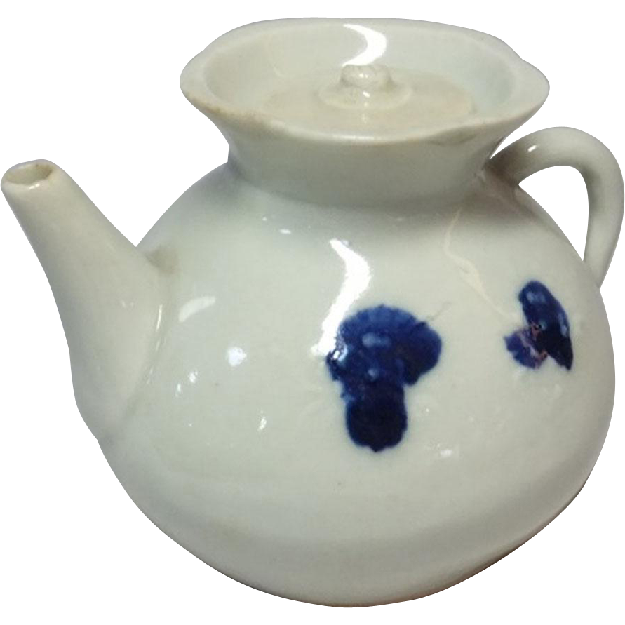 Japanese Antique Hirado 平戸 Porcelain Teapot Suiteki for Shodo  書道 - Calligraphy