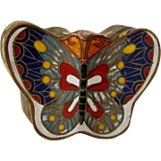 Japanese Vintage Showa Retro Cloisonne Butterfly Box