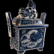 Japanese Antique Kutani Porcelain Koroh or Incense Burner Shishi Lion