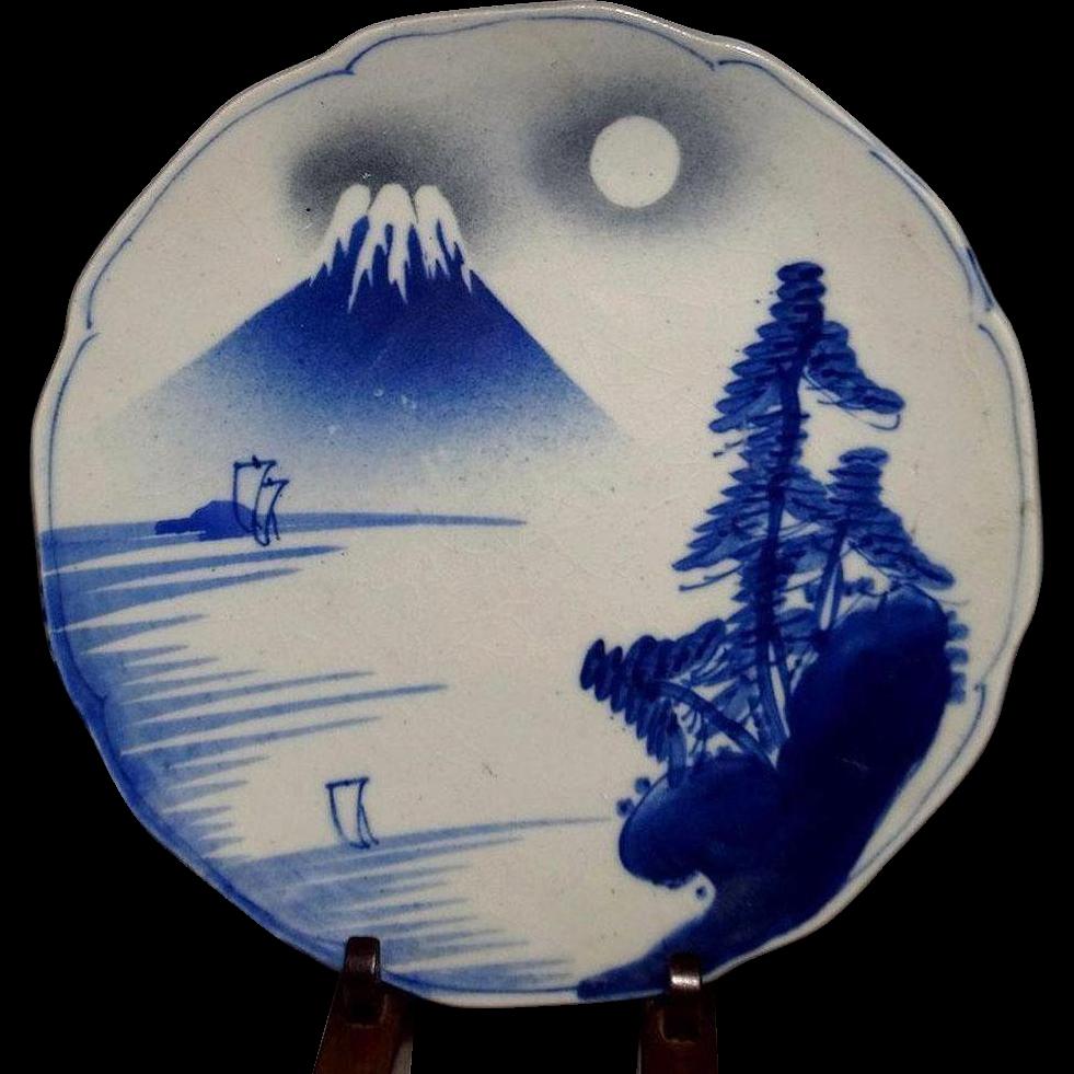 Japanese Antique 19th Century Seto Ware 瀬戸 Pottery Plate Mt. Fuji-san