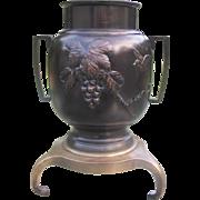 Japanese Vintage Bronze Usubata Ikebana Vase for Rikka