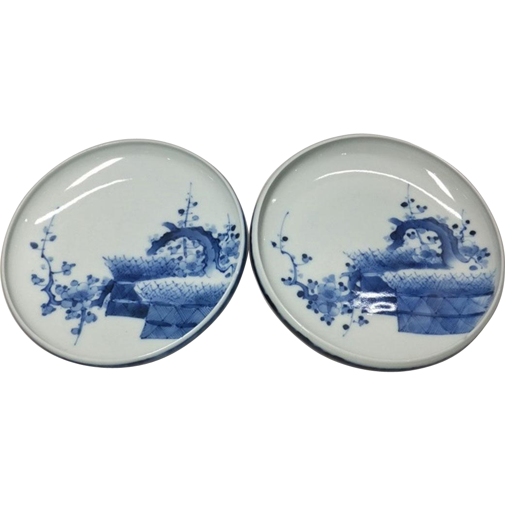 A Very Special Pair of Vintage Hirado Mikawachi-yaki Porcelain Plates by the Kakushou Kiln