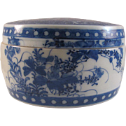 Japanese Antique 19th c Seto 瀬戸 Blue and White Porcelain Box by Famous Potter Katō Mon'emon VI 加藤紋右衛門