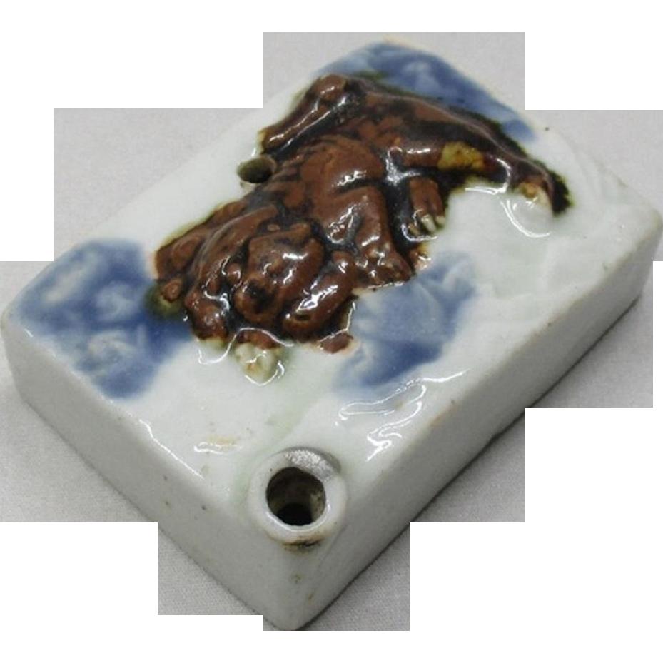 Japanese Edo Antique Famous Hirado 平戸 Porcelain Suiteki or Calligraphy Waterpot with Foo Dog