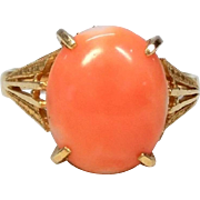Vintage Japanese Boke Pink Salmon Coral Cabochon Ring in 18k Yellow Gold