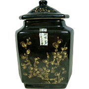 Chinese Glazed Black Porcelain Large Jar Pine, Bamboo and Plum Flower