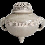 Gorgeous Vintage Kyo-yaki Shiro Satsuma Pottery of Censer or Incense Burner