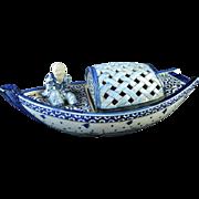 Antique Kutani Porcelain Museum Piece Huge Censer Man on Sampan Boat