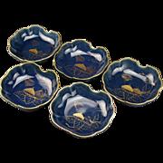 Antique Meiji Period Azure Glazed Imari Porcelain Set of Five Bowls of Fig