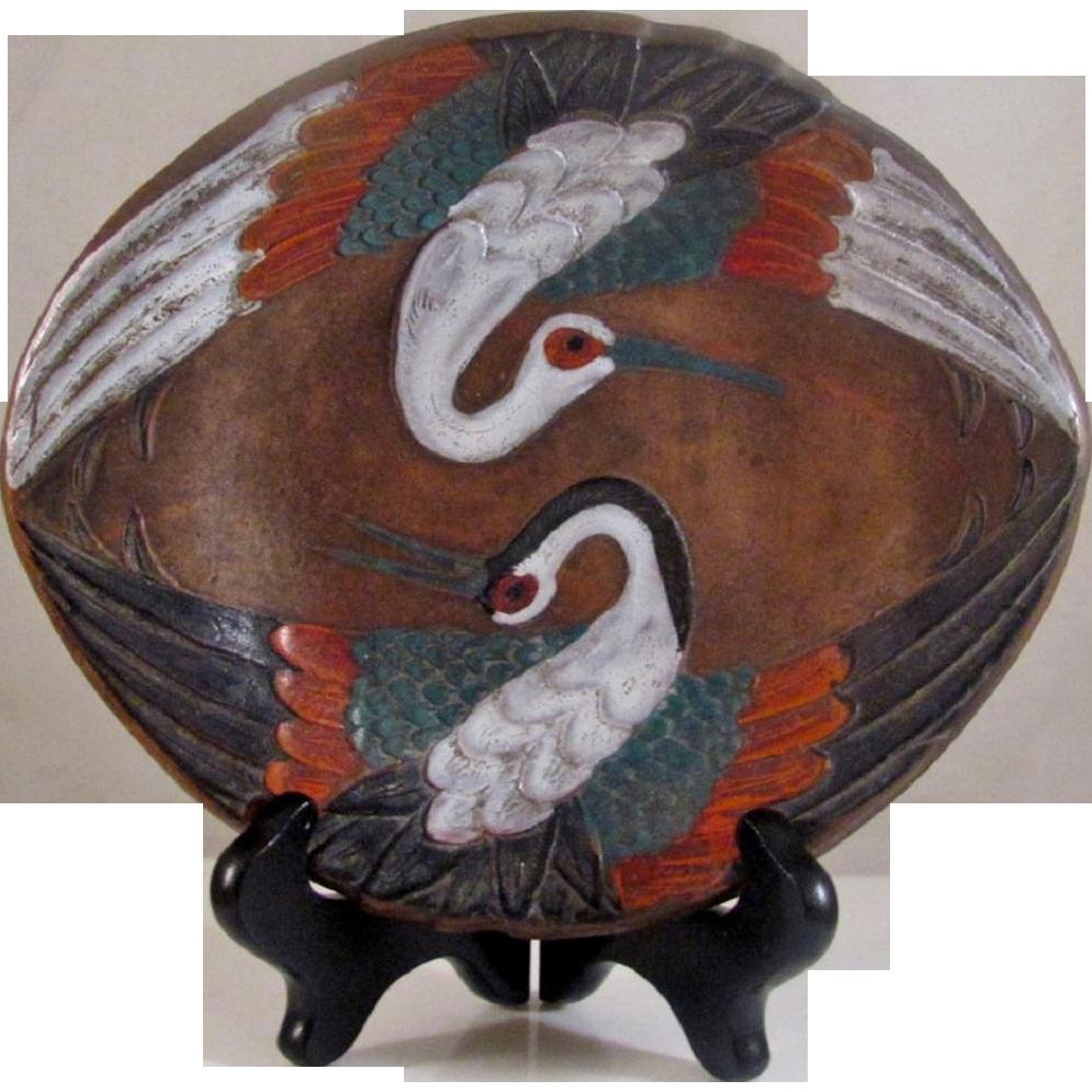 Antique Japanese Kyu-Bizen 級-備前 Plate Rare Decoration Low Relief Painted Cranes