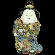 "Antique Edo Period Museum Quality 13"" Kutani-yaki 九谷焼 Porcelain Okimono or Statue of Okame- Otafuku, Signed"