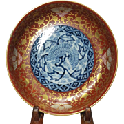 Japanese Antique Rare Daishoji-Imari Porcelain plate in Kinrande Style with Kintsugi