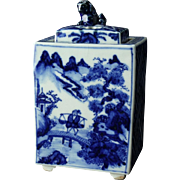 Japanese Vintage Blue and White Porcelain Sansui Design Koro or Censer Incense Burner