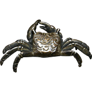 Japanese Antique Hand-Made Bronze Ornament of a Crab- 2 med.