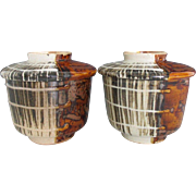 Japanese Antique Seto-yaki Pottery Pair Covered Rice Bowls of 'Mugiwara-te' Wheat-Straw Pattern