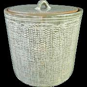 Japanese Kyo-yaki Kyoto Pottery 京焼き Mizusashi or Water Pot with Mishima 三島  Inlay