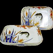 Japanese Antique Pair of Meiji Naga-zara Shaped Dish with Carp in Pond