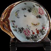 Japanese Old VIntage Yokohama-yaki Kutani Style Stoneware Peach Art Dish