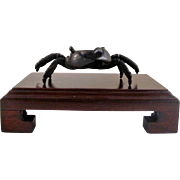 Japanese Antique Patinated Bronze Ornament of a Crab - 3