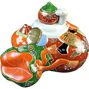 Japanese Vintage Kutani-yaki 九谷焼 Porcelain Ornament of Great Fortune in Holiday Colors - Red Tag Sale Item