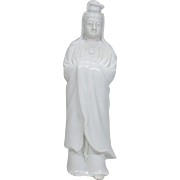 Japanese Vintage Izushi-yaki  出石焼 White Porcelain Okimono or Statue Kannon Goddess of Mercy