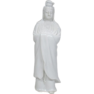 Japanese Vintage Izushi-yaki  出石焼 White Porcelain Okimono or Statue Kannon Goddess of Mercy