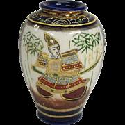 Japanese Meiji Antique Kyo-yaki 京焼き Satsuma Pottery Miniature Vase of Samurai