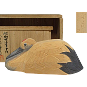 Japanese Old Vintage Carved Wood Okimono of Red-Crested Tsuru 鶴  Famous  Miyamoto yūryō 宮本優良
