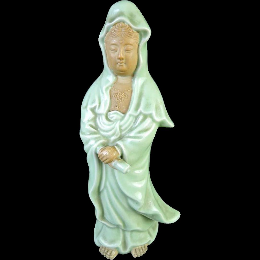 Japanese Vintage Kutani Celadon Porcelain Okimono or Statue of Kannon, Guanyin, Goddess of Mercy