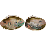 Japanese Rare Vintage Hand-Painted Clam as Kogo with Princess and Lovely Women Motif