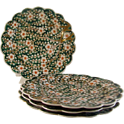 Japanese Antique Hizen Imari Rare Porcelain Tea Plate (4) of Ume Flower by Great Aoki 青 Family