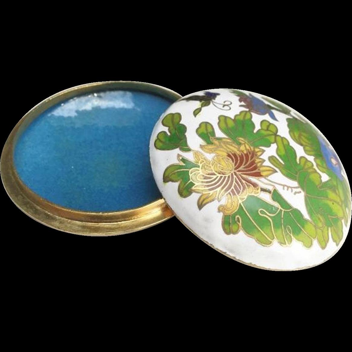 Japanese Vintage Cloisonné and Enameled Brass Floral Kogo or Ink Pad