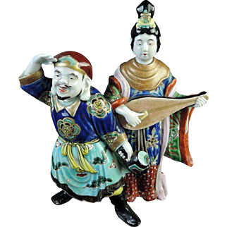Japanese Meiji Antique Imari Porcelain Okimono of Fortune Daikokuten 大黒天 and Benzaiten 弁財天
