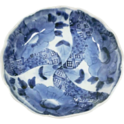 Japanese Edo Antique Imari Porcelain Namasu Dish Windmill and Butterflies