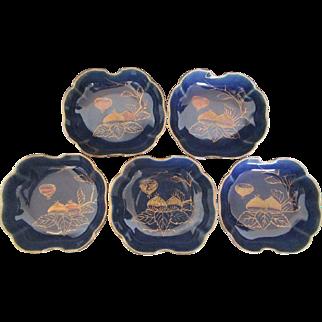 Japanese Antique Meiji Period Azure Glazed Imari Porcelain Set of Five Bowls of Fig