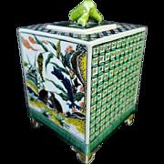 Japanese Vintage Kutani-yaki 九谷焼 Porcelain Koro by Toko gama 陶光造