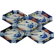 Japanese Antique Meiji Imari yaki 伊万里焼 Set of Five Colorful Hishigata-zara Dish