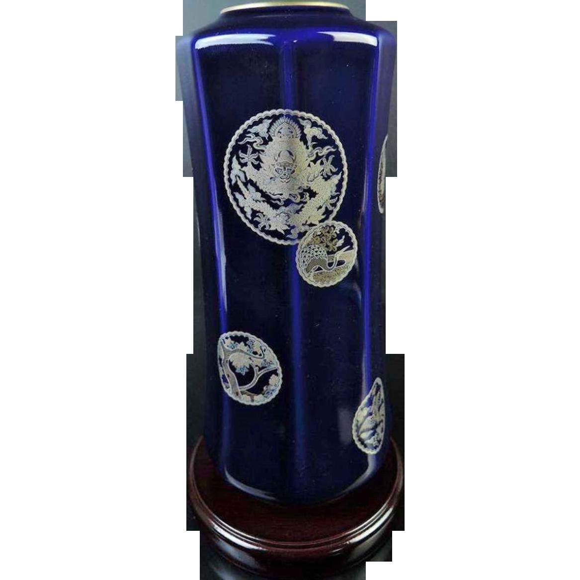 Signed Vintage Koransha 香蘭社 Octaganol Porcelain Vase of Lapus Lazuli Glaze