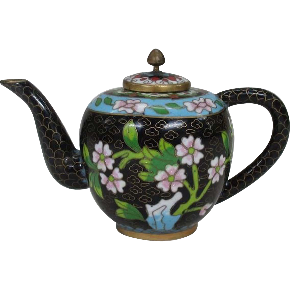 Chinese Vintage Shippo-yaki Cloisonne Floral Teapot