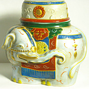 Porcelain Banko Ware Style Container of a Colorful Elephant