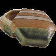 Japanese Vintage Oribe-yaki Pottery Kogo or Incense Box