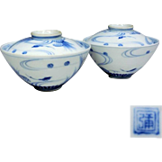 Japanese Vintage Seto Ware Porcelain Pair of Blue and White Covered Rice Bowls