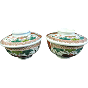 Japanese Antique Edo Hizen Imari-yaki Porcelain Pair of Rice Bowls