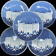 Japanese Antique Edo Period Nabeshima 鍋島 Set of Five Porcelain Dish of Samurai Ship Motif