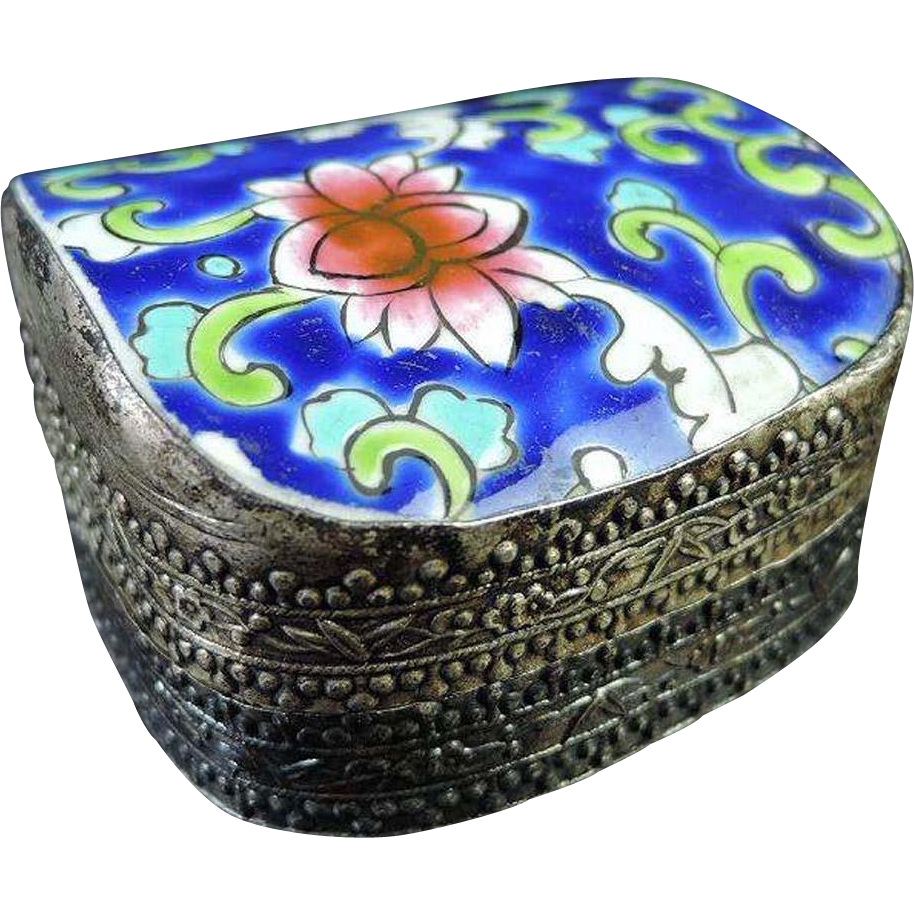 Chinese Vintage Engraved Silver Mixed Metal and Porcelain Small Box of Lotus Flower